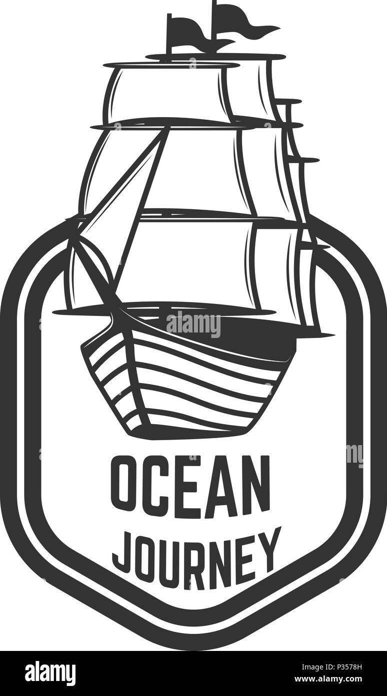 emblem template with vintage ship design element for logo sign
