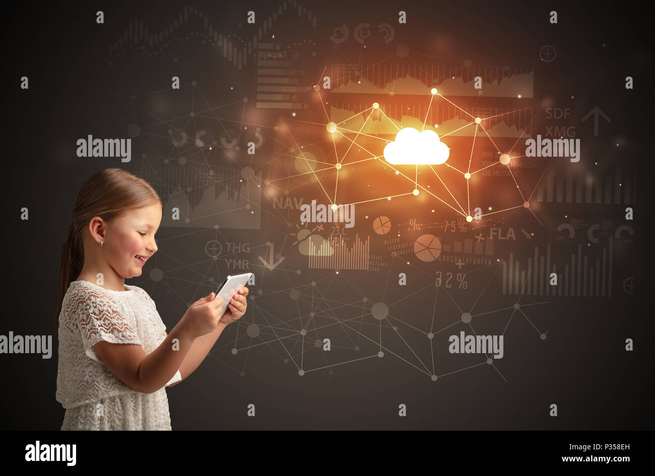 Adorable girl working on tablet with cloud technology concept  - Stock Image