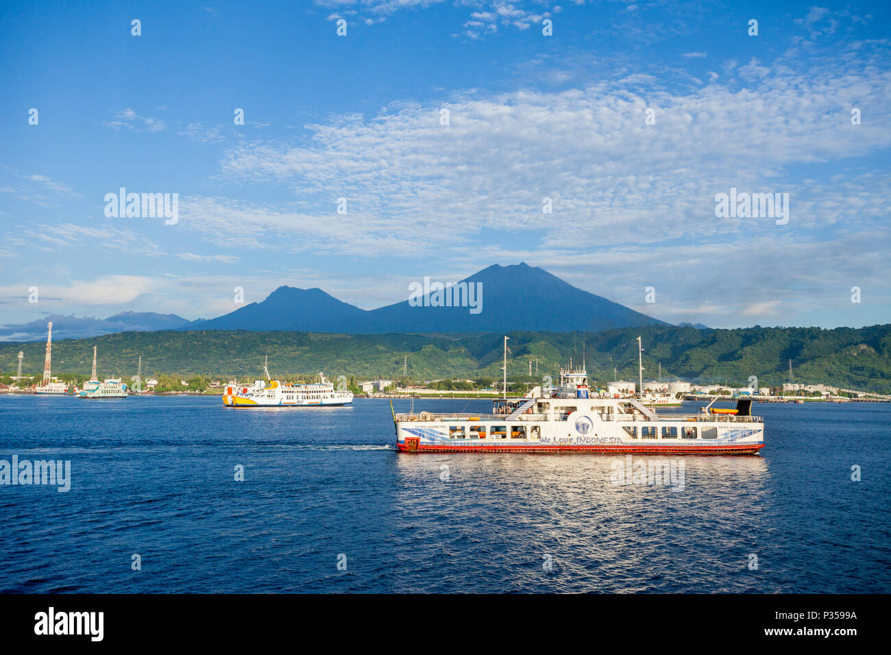 The Ijen, Raung, Kukusan volcanoes on Java, Indonesia - Stock Image