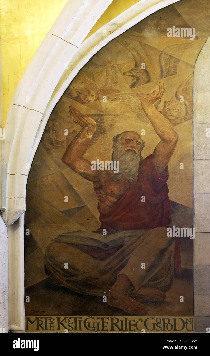 Prophet Ezekiel, fresco in the church of St. Mark in Zagreb, Croatia - Stock Image