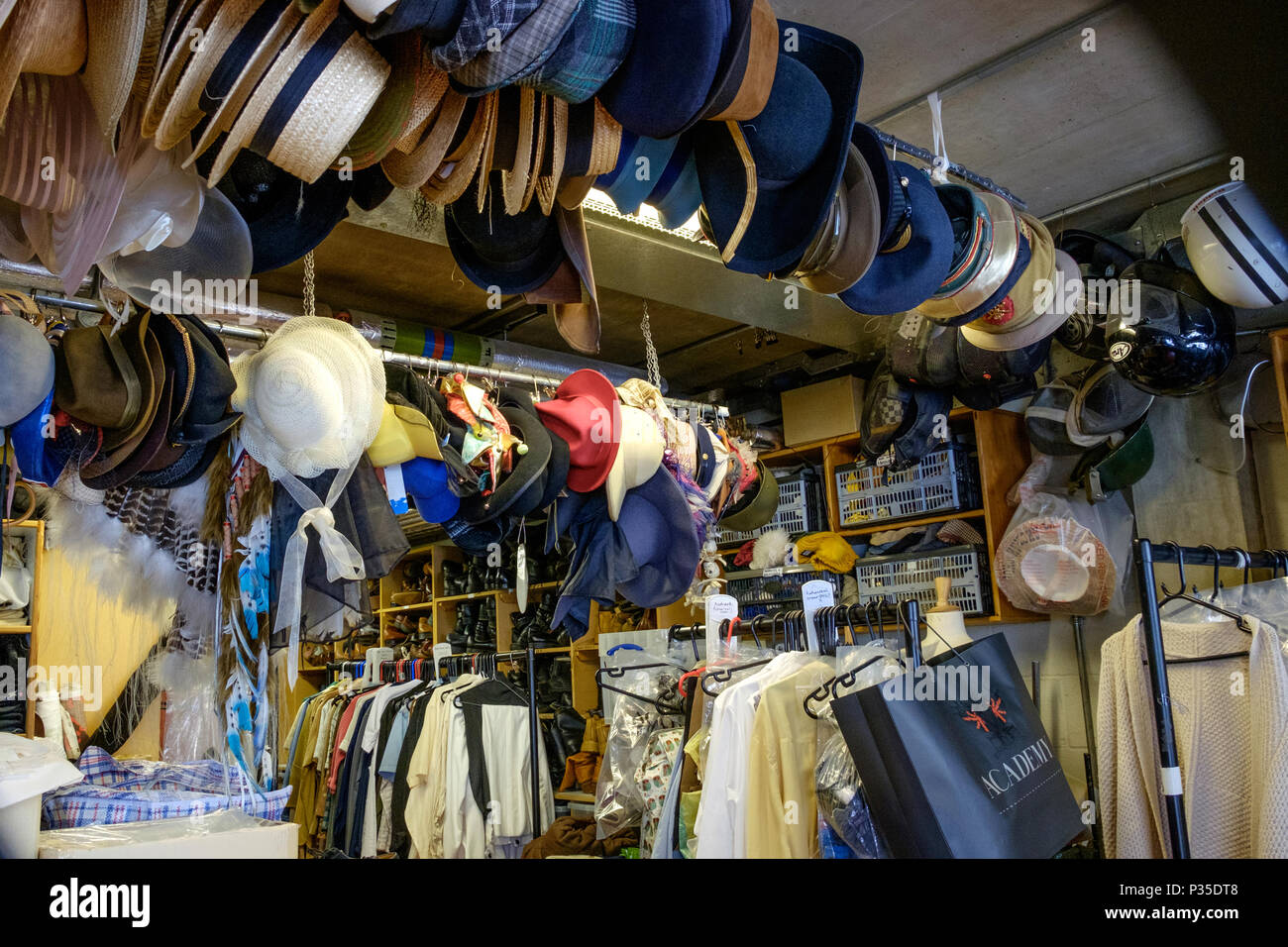 Wardrobe Room at the Young Vic Theater, 66 The Cut, in London, during an Open House London backstage tour. - Stock Image
