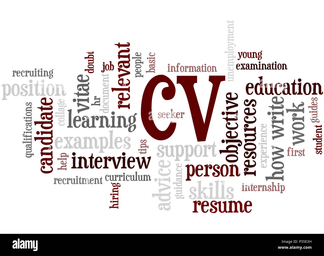 Cv Curriculum Vitae Word Cloud Concept On White Background Stock