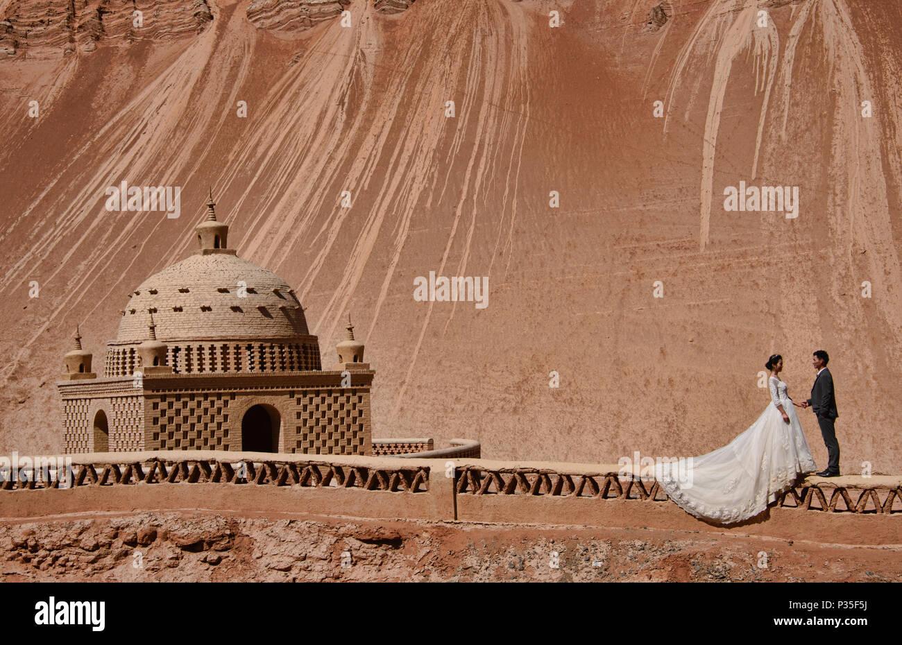 Uyghur tomb in the Flaming Mountains, Turpan, Xinjiang, China - Stock Image