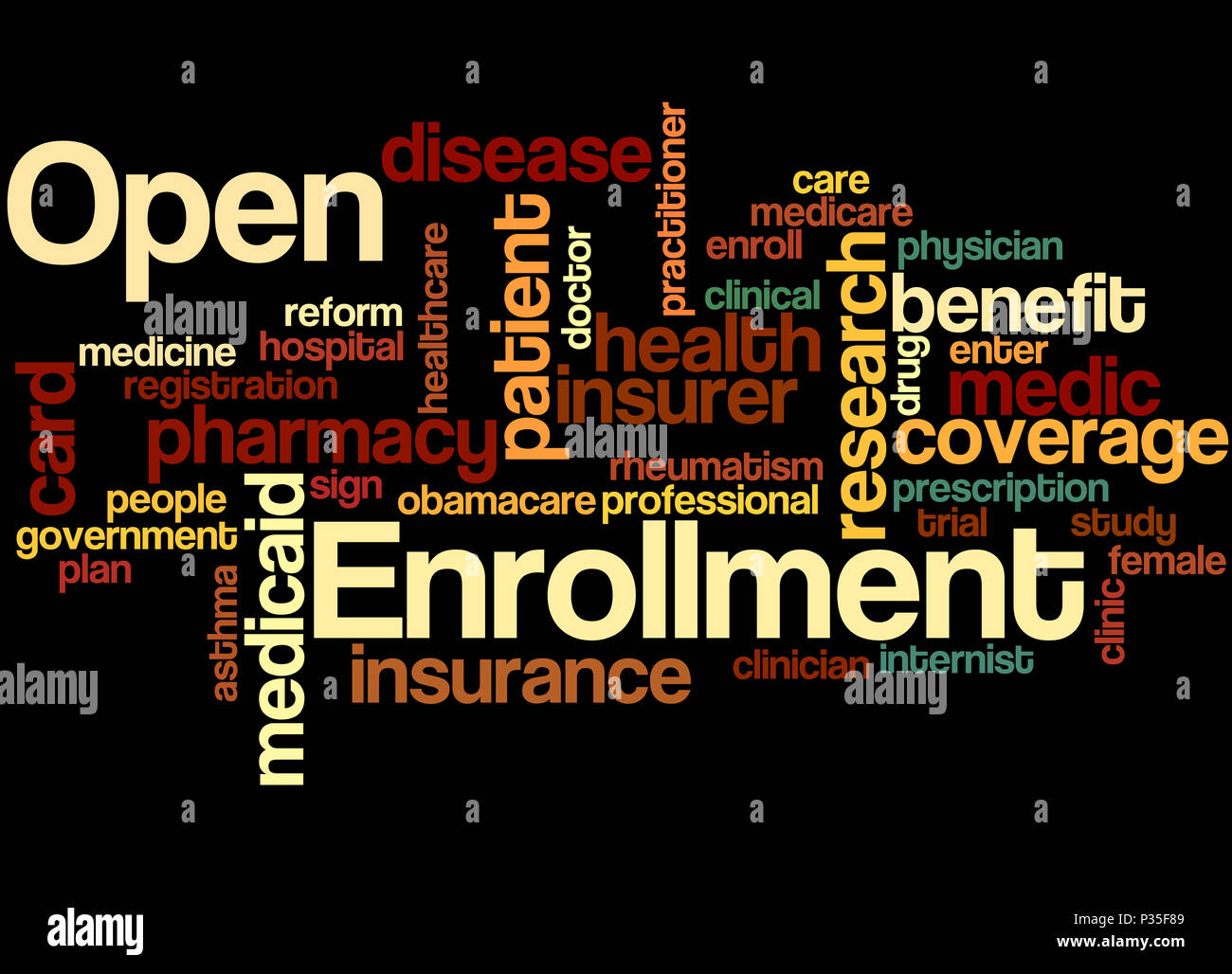 Open Enrollment, word cloud concept on black background. - Stock Image