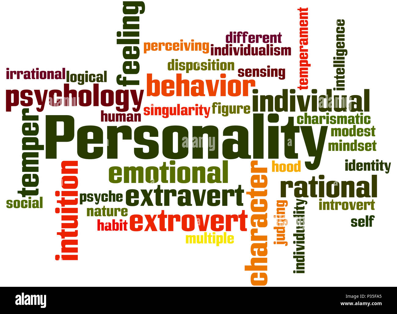 Personality, word cloud concept on white background. - Stock Image