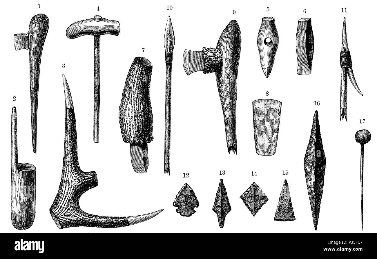Stone Age equipment from the Swiss stilt houses: a) Ax, 2) Mallets, 3) Hirschorm hoe, 4), 5) and 6) Ax hammers, 7) and 8) Stone chisel, 9) Hoe in staghorn and wood, 10) Spearhead , 11) arrowhead, 12) - 15) stone arrowheads, 16) spearhead, 17) leg needle,   1894 - Stock Image