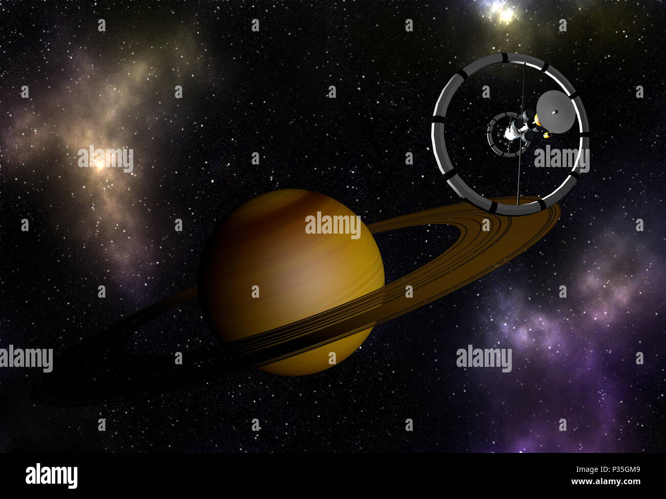 Spacecraft flying to Saturn - Stock Image