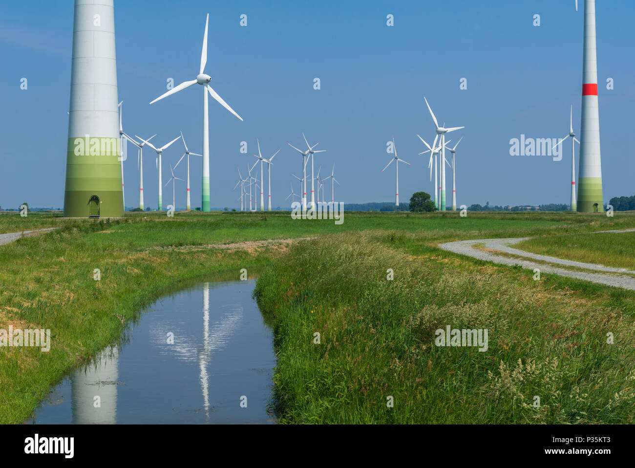 Wind energy park, Westerholt, East Frisia, Lower Saxony, Germany - Stock Image