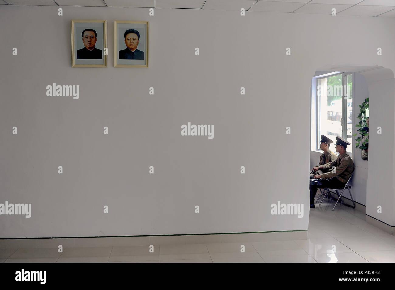 Panmunjeom, North Korea, North Korean Guardsmen - Stock Image