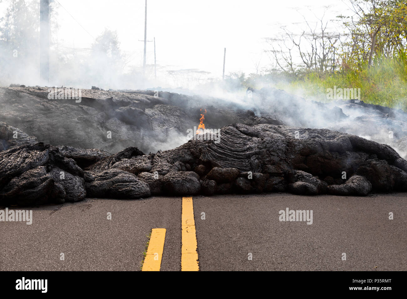 Highway in Hawaii, which was destroyed by a lava flow - Stock Image