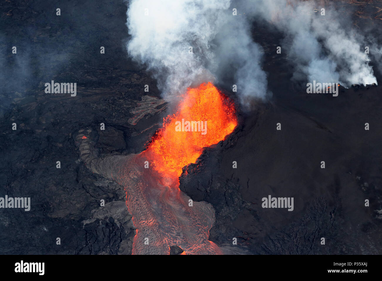Aerial view of the volcanic eruption of volcano Kilauea, Fissure 8, May 2018 - Stock Image