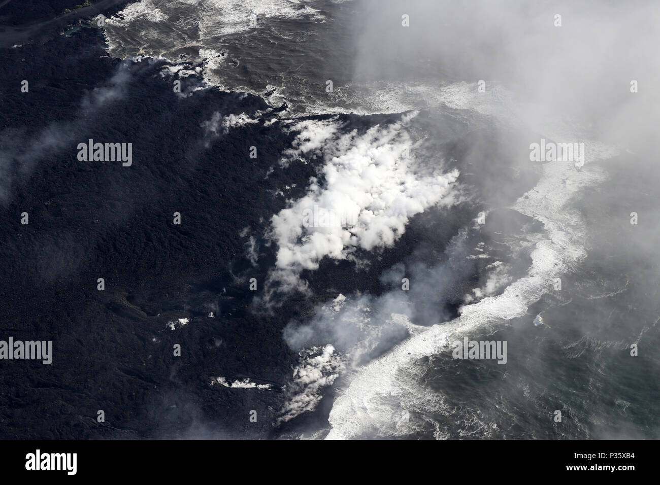 Ocean Entry of volcanic eruption of Kilauea volcano, Fissure 8, May 2018 - Stock Image