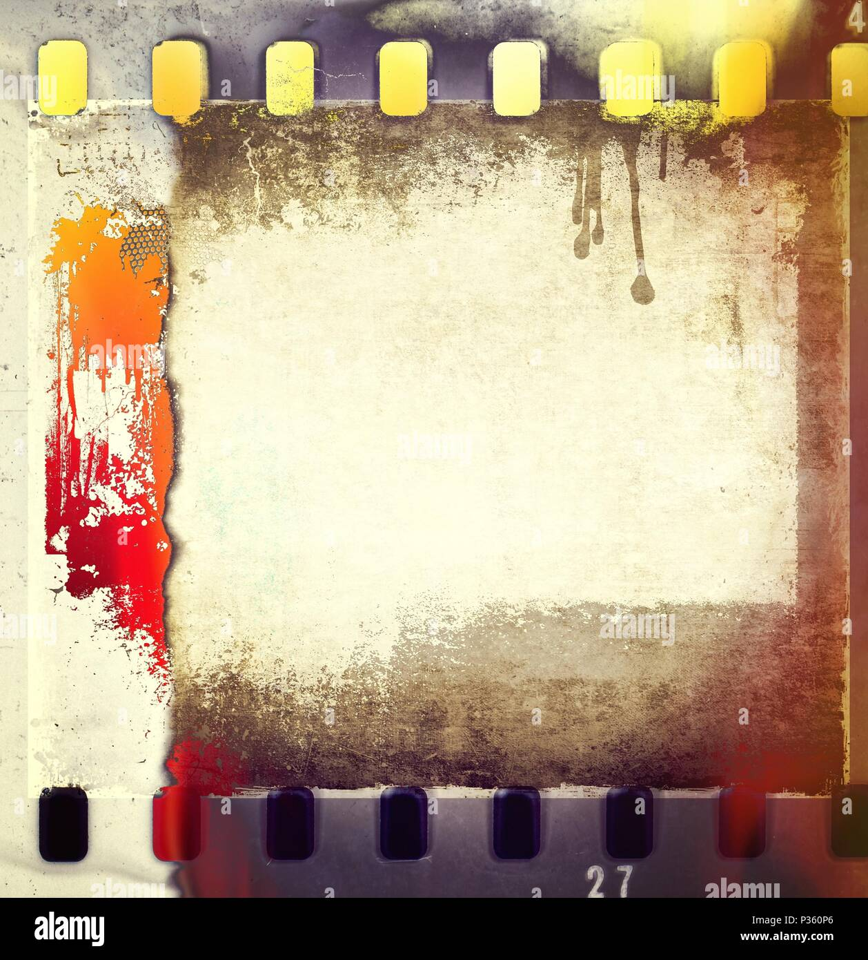 Retro film strip frames in red and yellow tones with copy space. - Stock Image