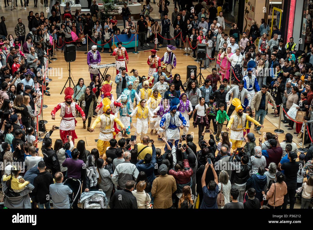 Lions of Punjab, Cubs of Punjab and audience participation; Bhangra dance; Bullring, Birmingham - Stock Image