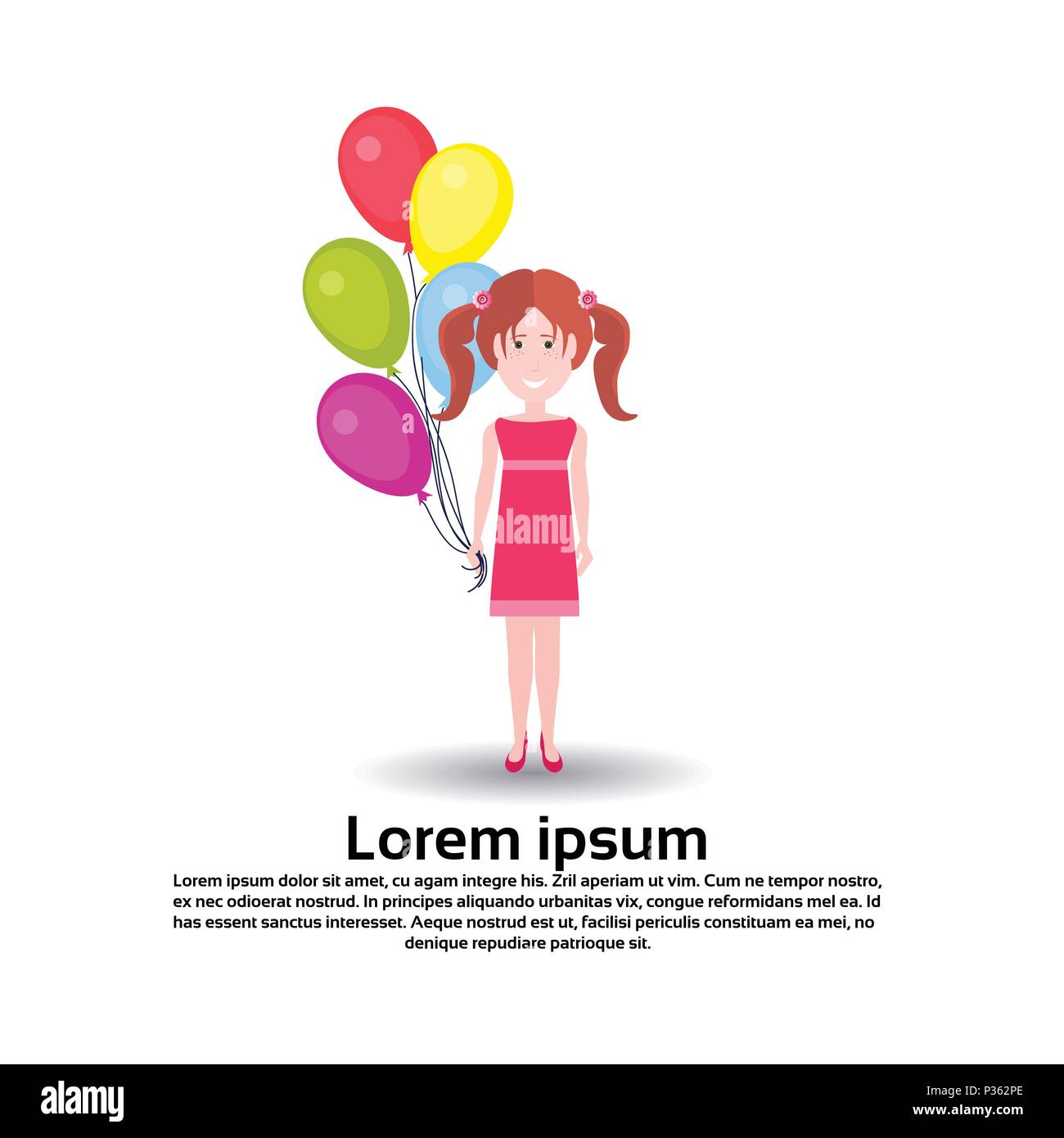 Girl Balloons Character Personage Female Template For Design