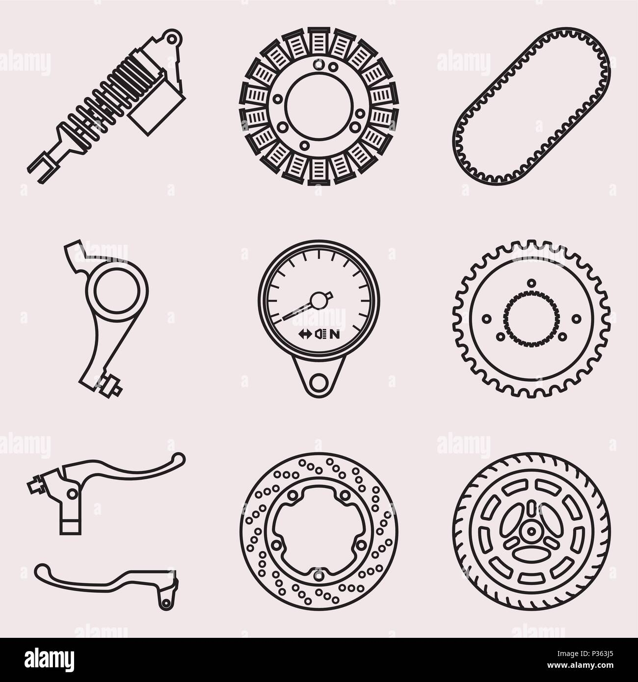 Various Kinds Of Motorcycle Parts Thin Line Vector Stock Vector Art