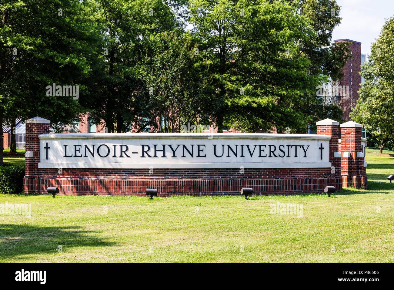 HICKORY, NC, USA-9 JUNE 18: A brick sign identifying the Lenoir-Rhyne University campus. - Stock Image