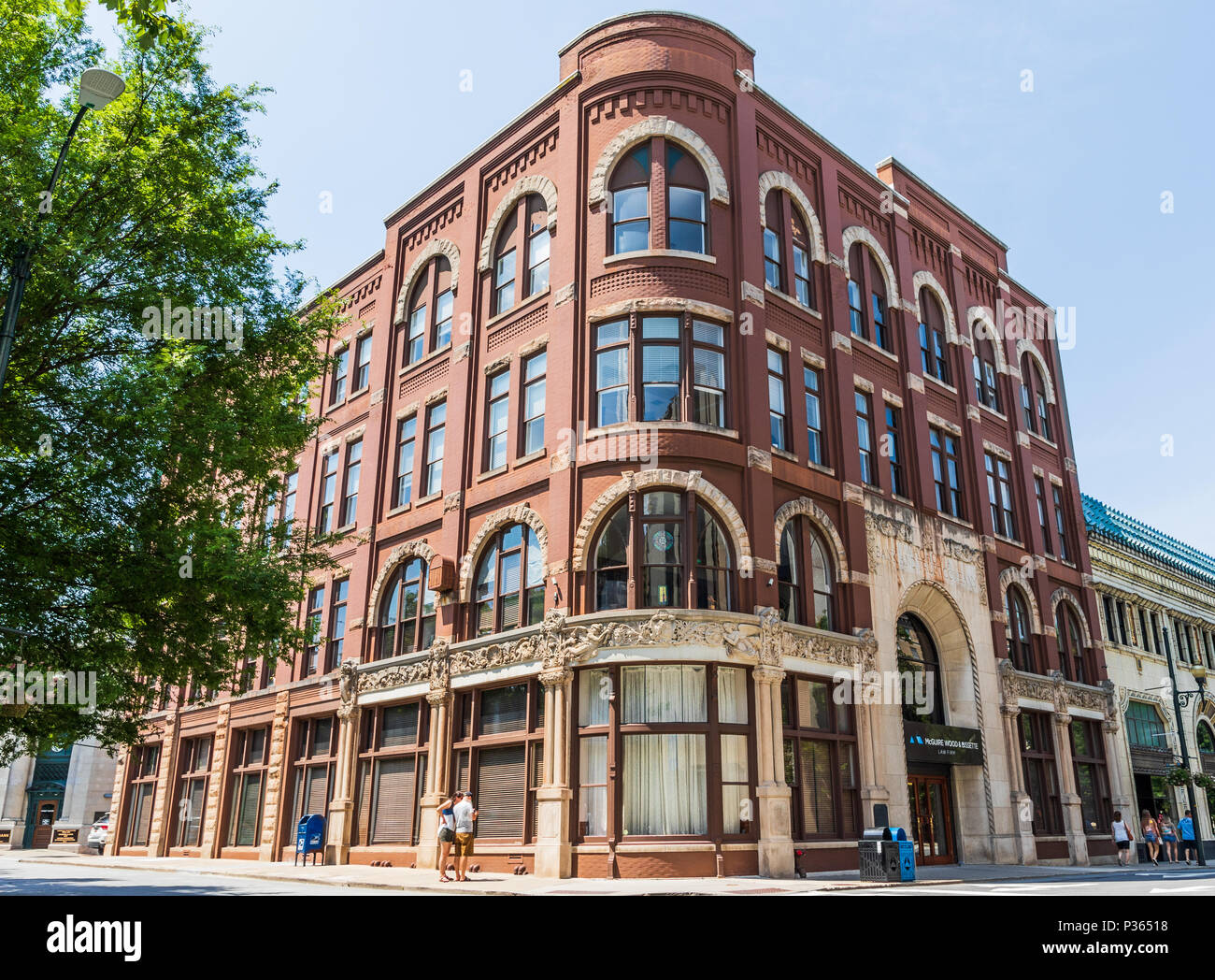 ASHEVILLE, NC, USA-10 JUNE 18: The Drhumor Building, 1895, is the oldest standing commercial building in the city.  Its design is Romanesque Revival. - Stock Image