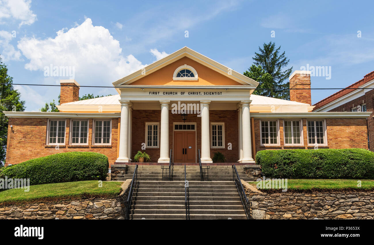 ASHEVILLE, NC, USA-10 JUNE 18:  The Christian Science Church on French Broad Ave. in downtown Asheville. - Stock Image