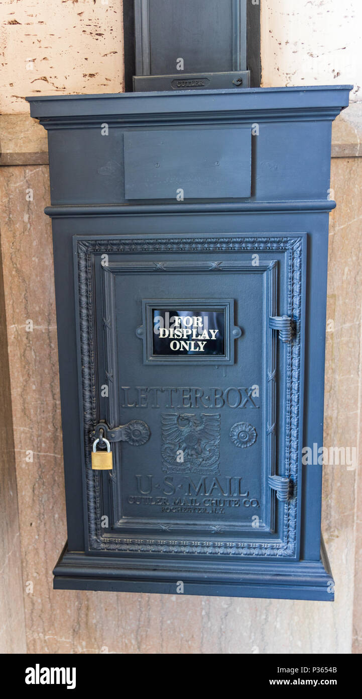 ASHEVILLE, NC, USA-10 JUNE 18:  An antique mailbox, displayed in the Grove Arcade. Stock Photo