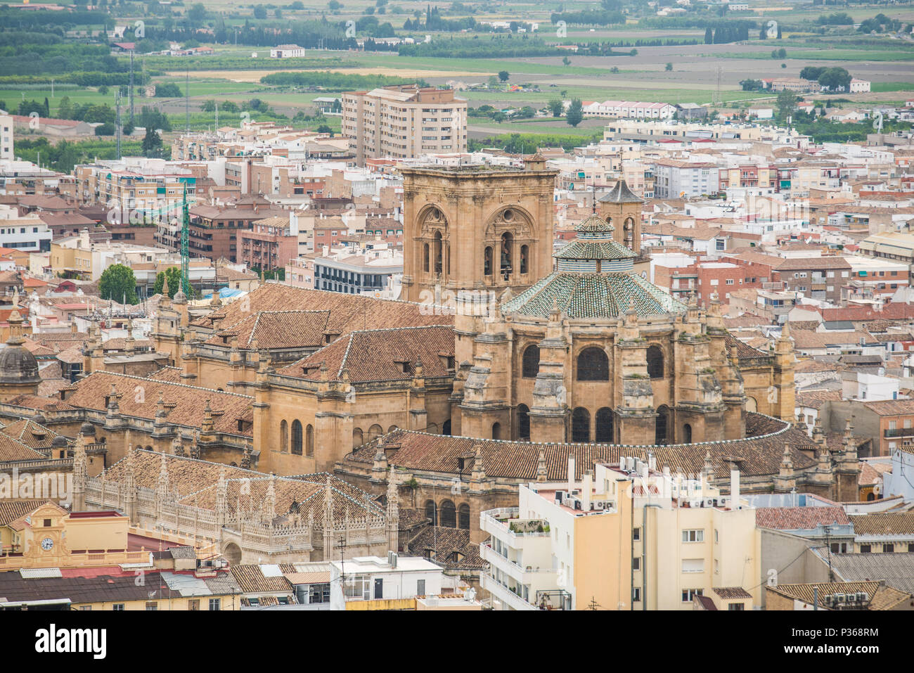 The Granada cathedral as viewed from the Alhambra. - Stock Image
