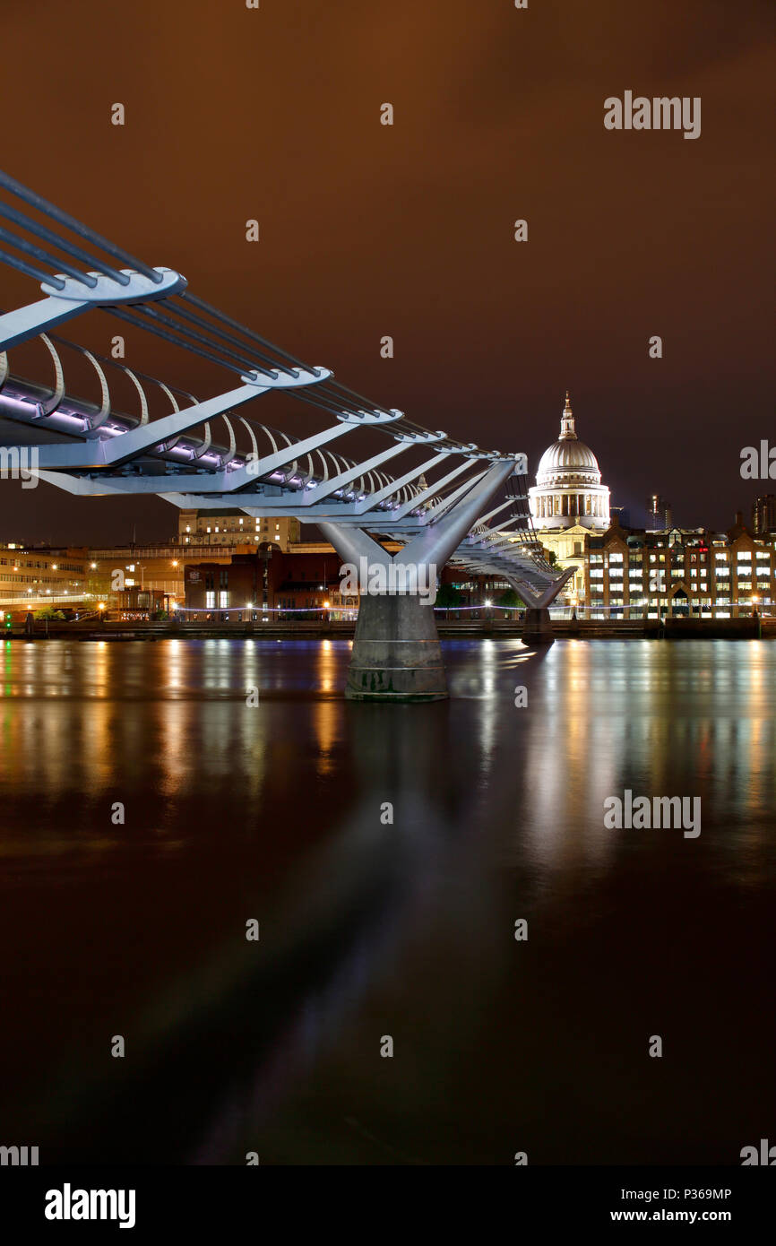 The Millennium Bridge and St Pauls Cathedral, London - Stock Image