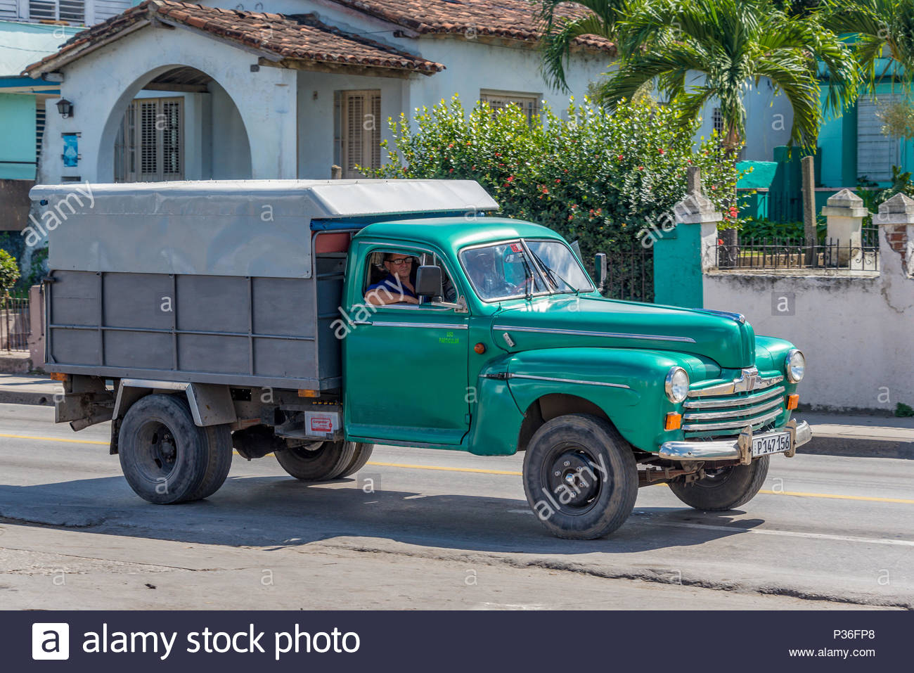 Vintage American small struck in working condition in the streets of Cuba.Obsolete cars have solved many transportation needs and they are also a safe Stock Photo