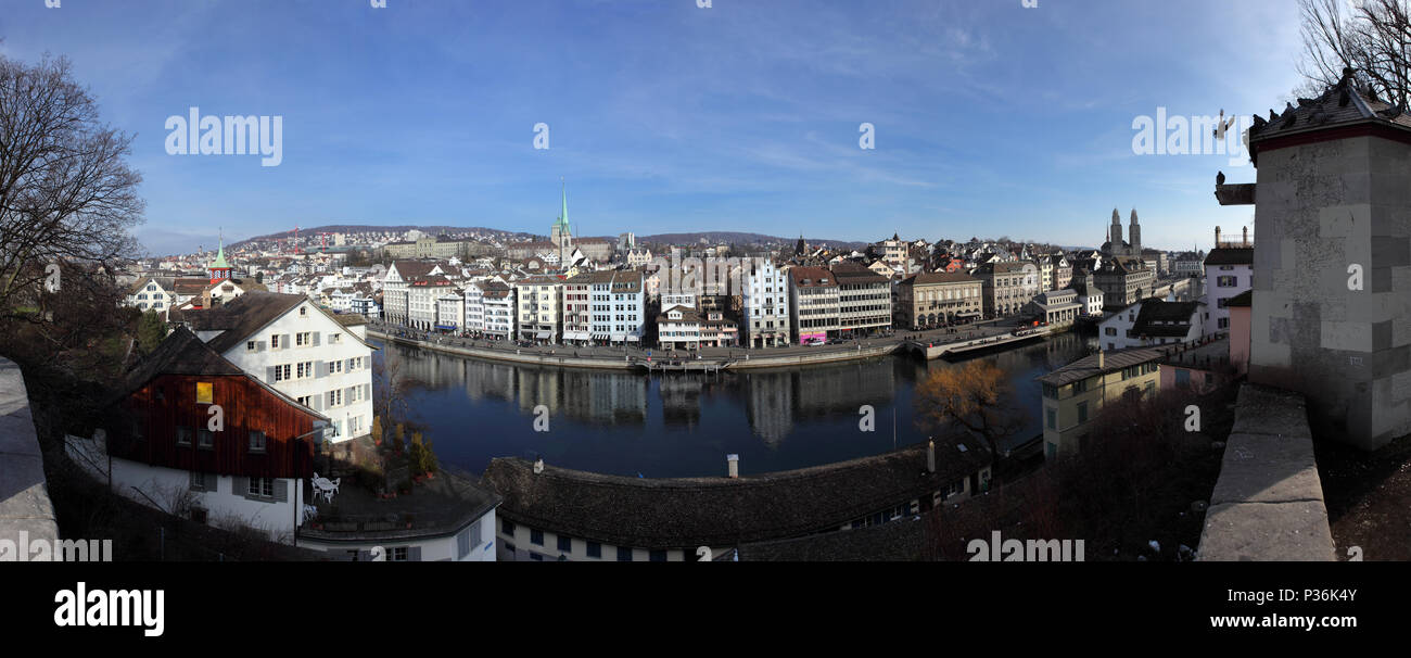 Zurich, Switzerland, view from the Lindenhof on the Limmat and the Predigerkirche - Stock Image