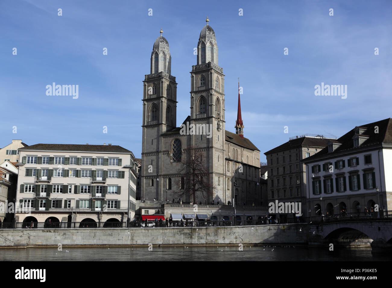 Zurich, Switzerland, the Grossmuenster on the Limmatquai - Stock Image