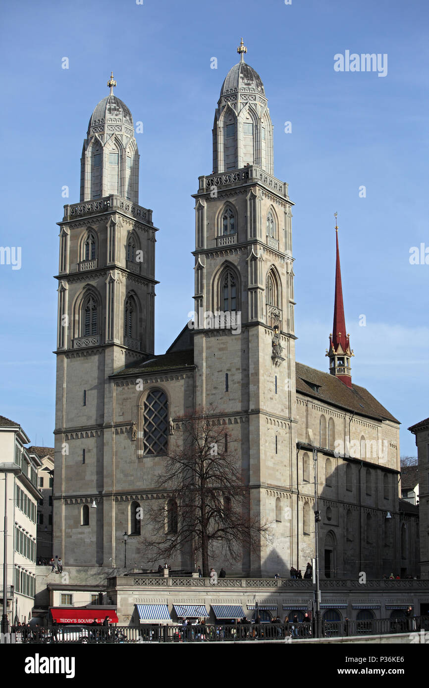Zurich, Switzerland, cityscape with the Grossmuenster on the Limmatquai - Stock Image