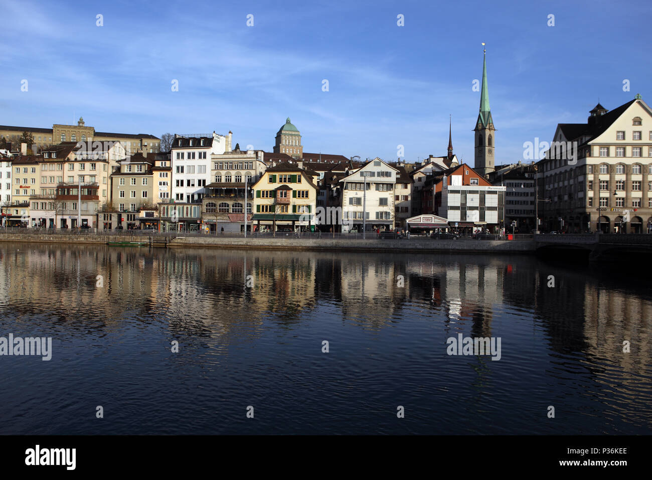 Zurich, Switzerland, city view on the Limmatquai - Stock Image