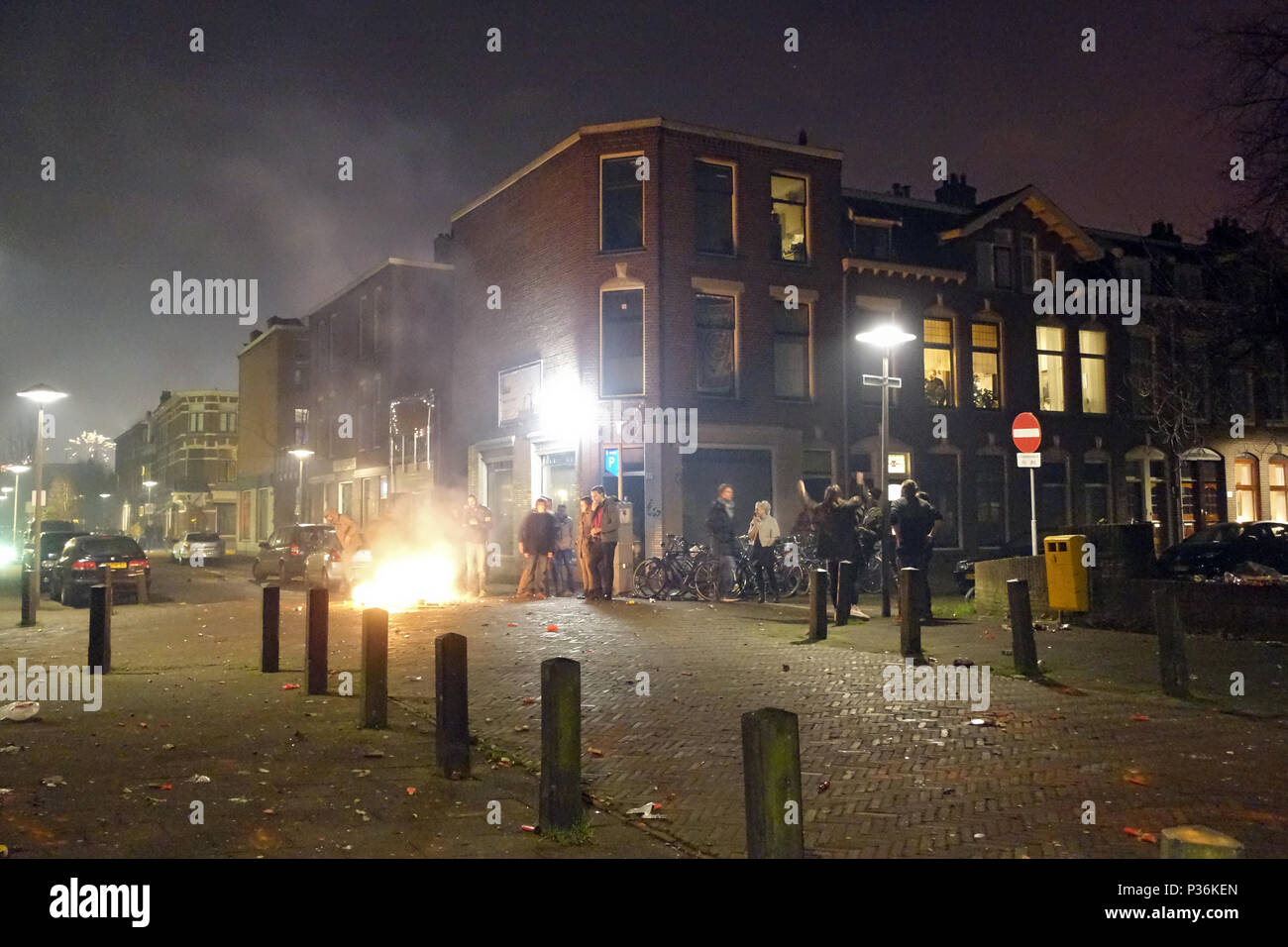 Utrecht, Netherlands, people are celebrating New Year's Eve on the street - Stock Image