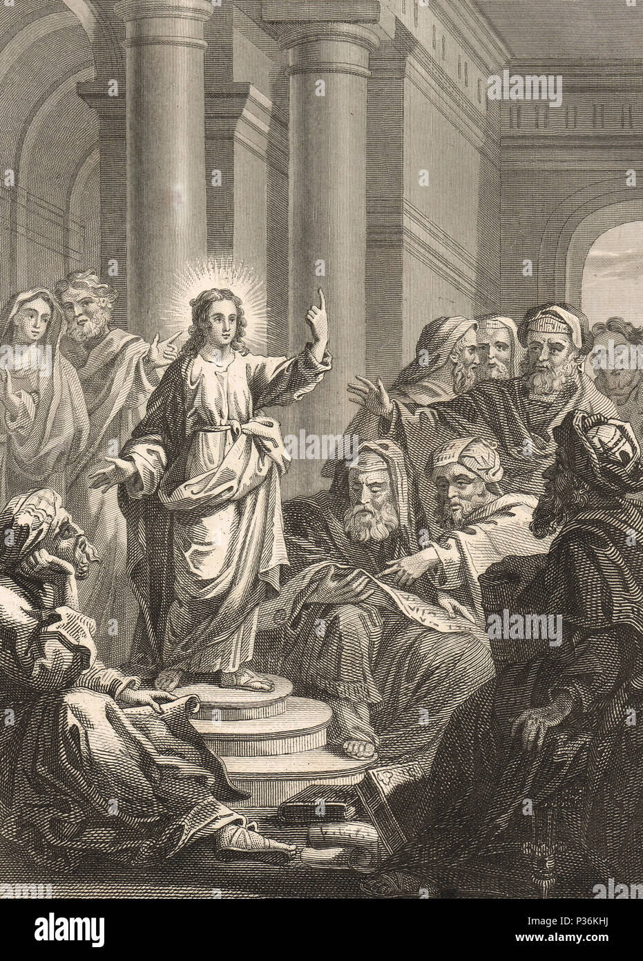 The Finding in the Temple, also called 'Christ among the Doctors' or the Disputation.  Jesus at the age of twelve in discussion with the elders - Stock Image