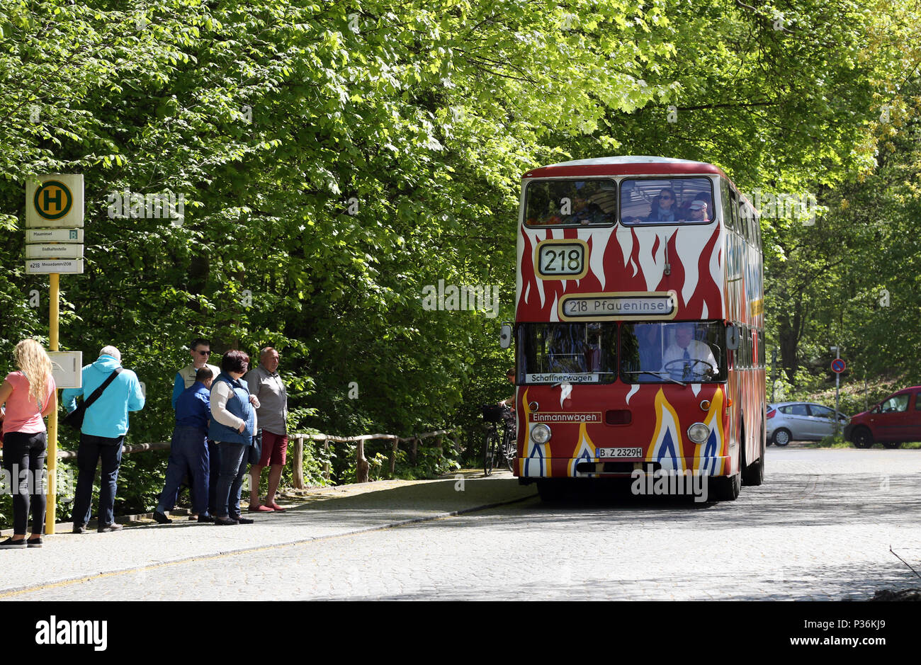 Berlin, Germany, historic bus in regular service - Stock Image