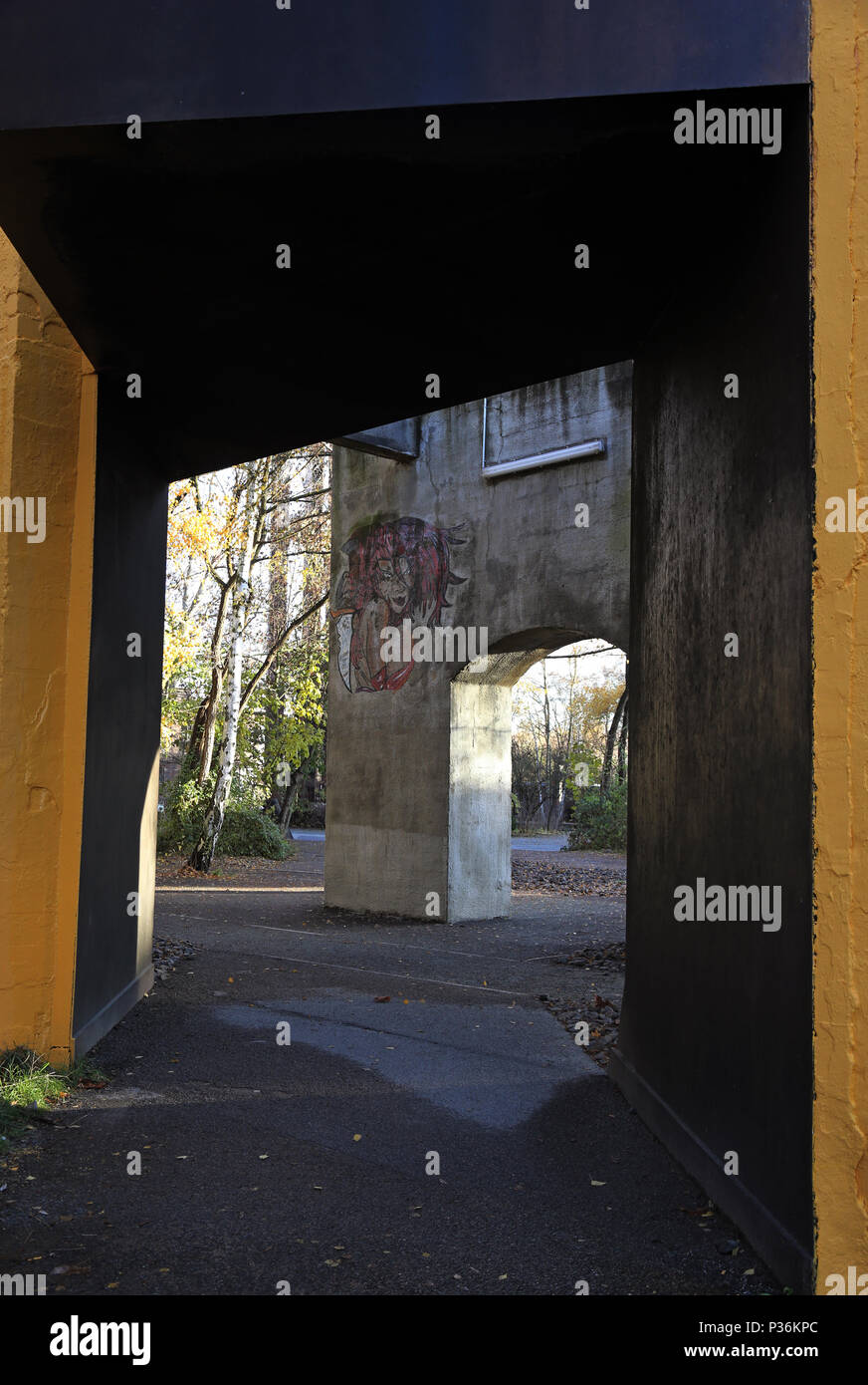 Berlin, Germany, masonry is sprinkled with graffiti - Stock Image