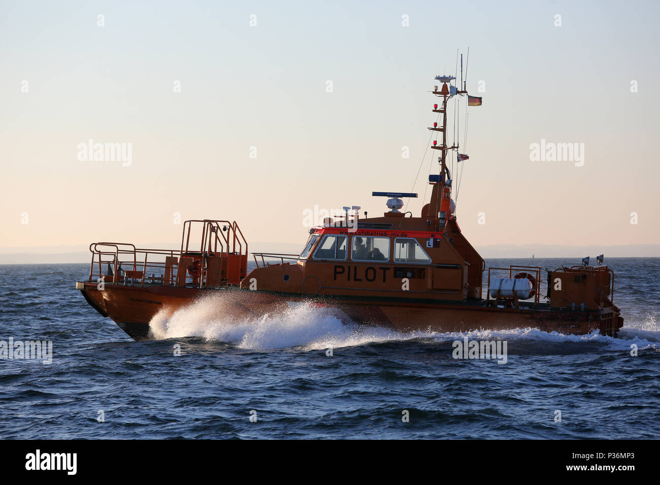 Wismar, Germany, pilot boat on the Baltic Sea - Stock Image