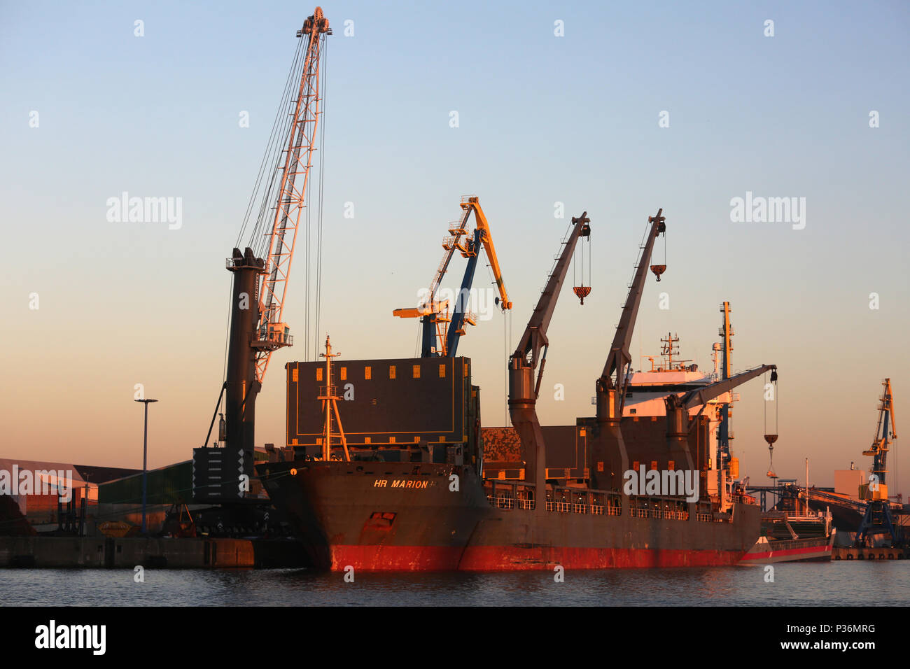 Wismar, Germany, empty cargo ship in the harbor - Stock Image