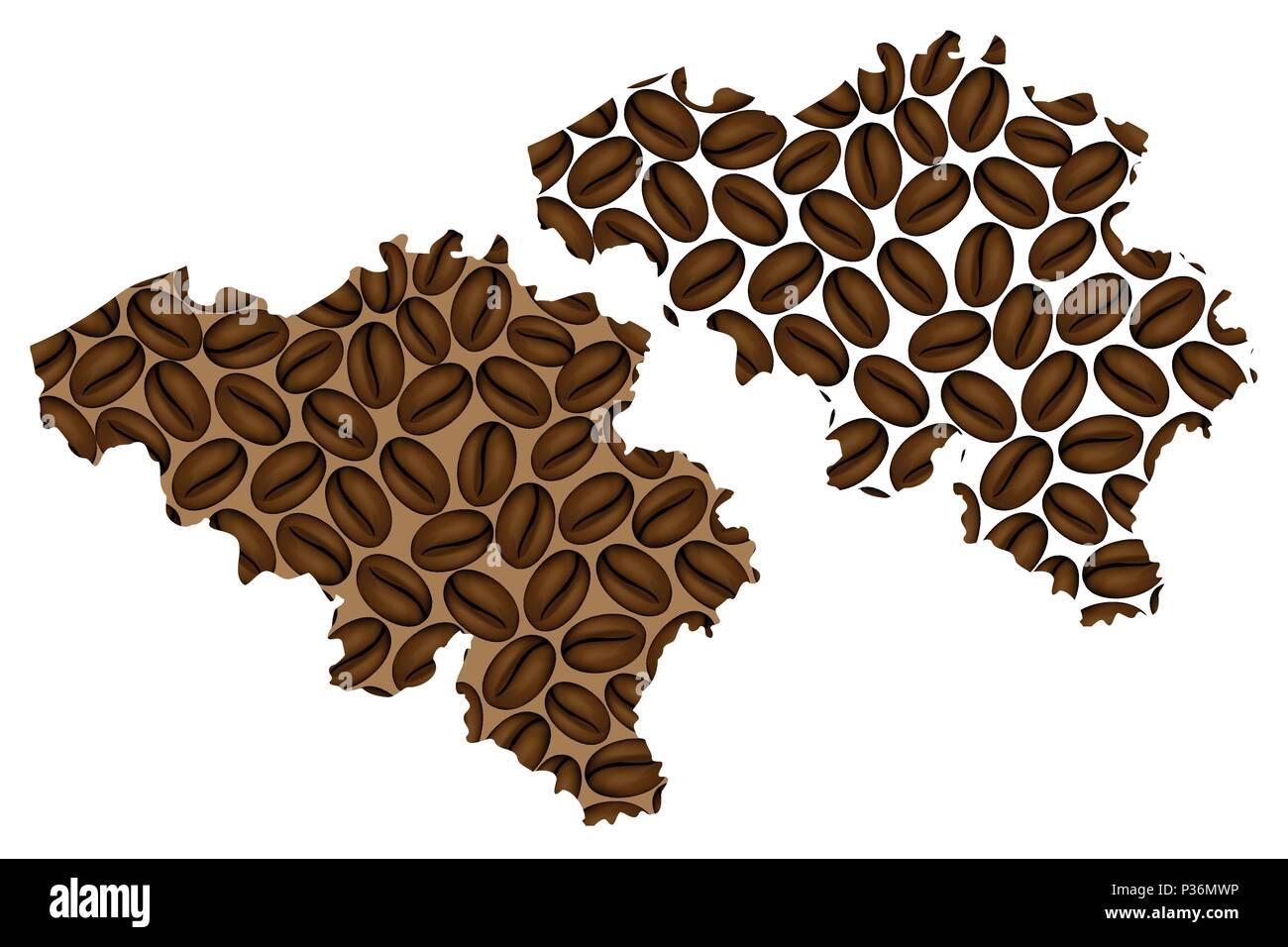 belgium map of coffee bean kingdom of belgium map made of coffee beans