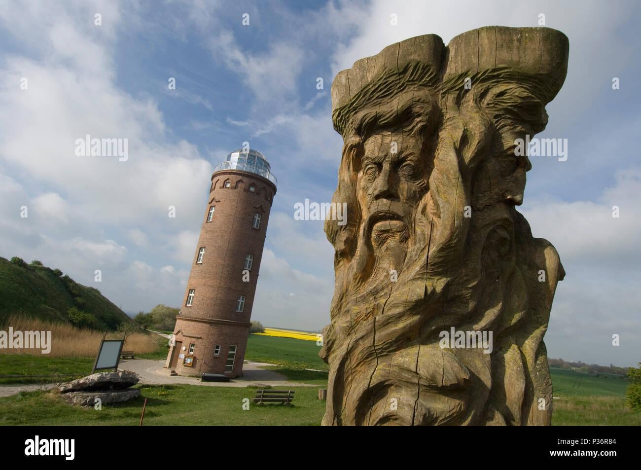 Putgarten, Germany, the Peilturm and the Svantovit statue at Cape Arkona - Stock Image