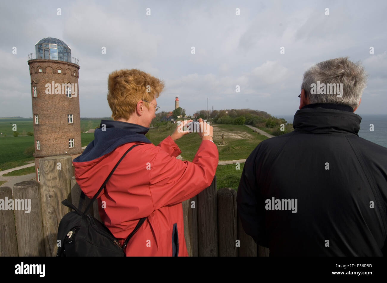 Putgarten, Germany, visitors to the Slavic Wall at Cape Arkona - Stock Image