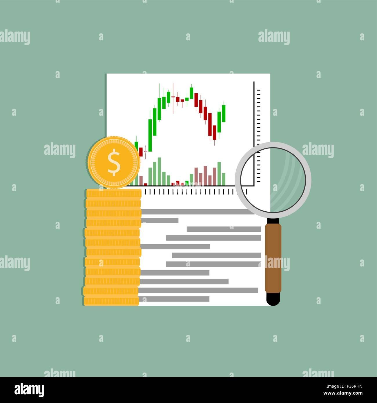 Finance Market: Exchange Analysis Financial Candlestick Chart. Vector