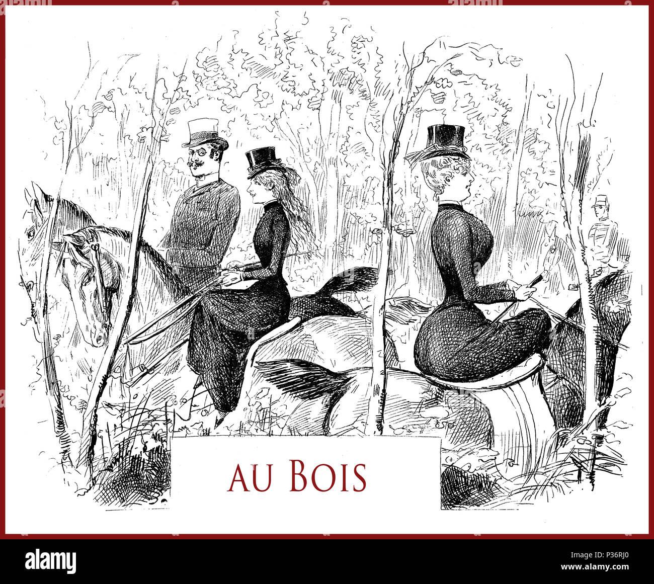 French satirical magazine La vie Parisienne 1888, riding at Bois de Boulogne, portraits, caricatures and humor Stock Photo