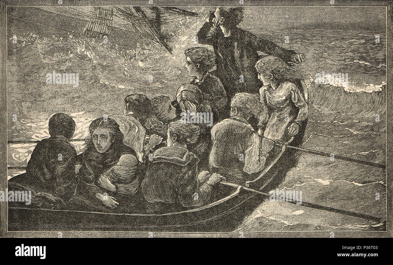Abandoning ship, Women and children first - Stock Image