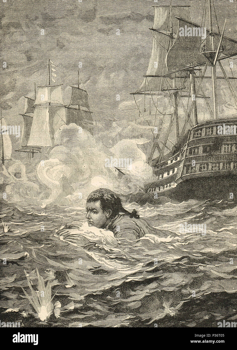 A man swimming for his life, Bombardment of Algiers, 27 August 1816 Stock Photo