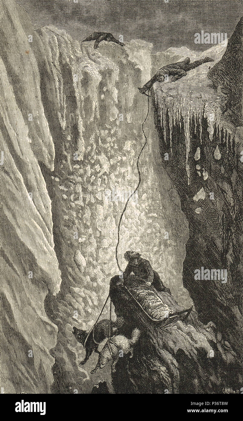Lieutenant Payer, cutting the rope after the fall of a dog sledge over the cliffs, Julius von Payer, Austro-Hungarian North Pole expedition, 24 March 1874 - Stock Image