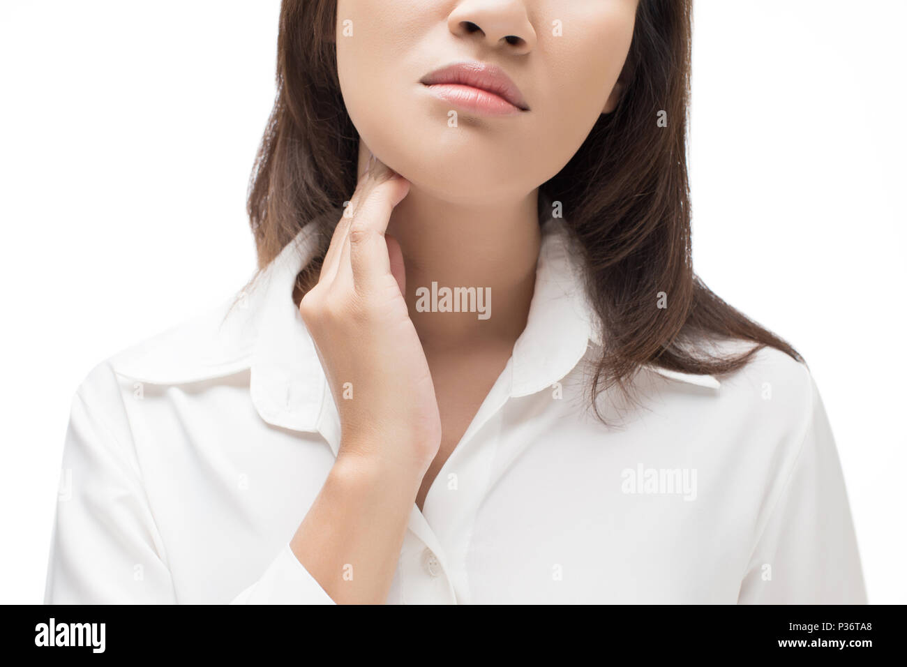 Sore throat woman on white background - Stock Image