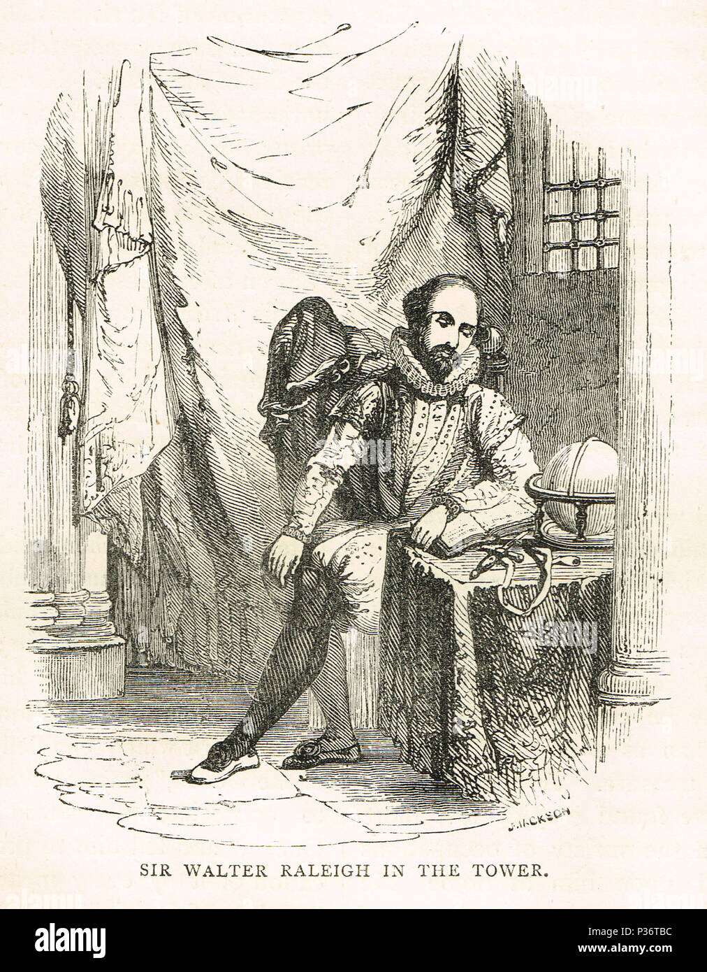 Sir Walter Raleigh, imprisoned in the Tower, 1604-16 - Stock Image