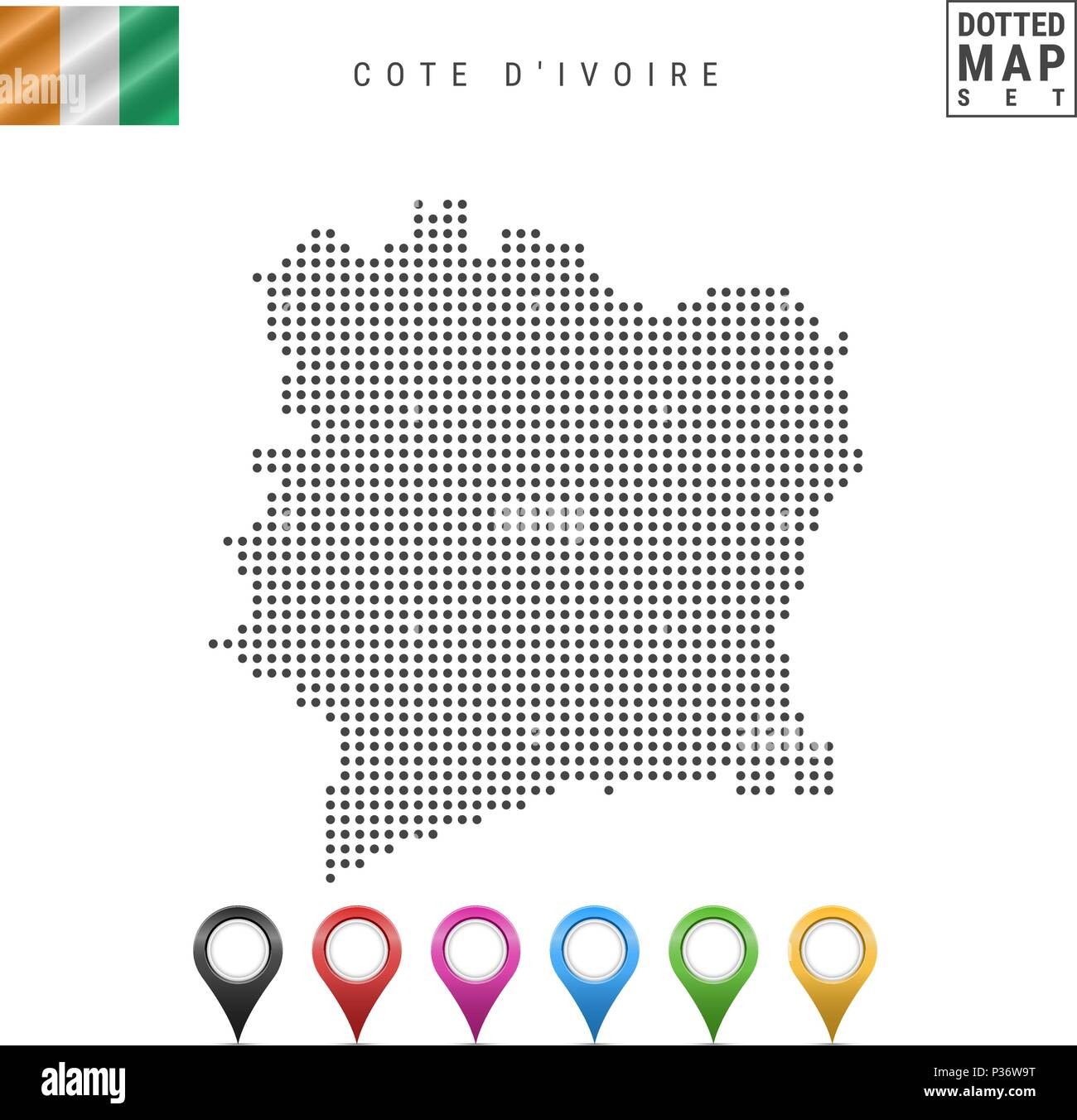 Vector Dotted Map of Cote D'Ivoire. Simple Silhouette of Cote D'Ivoire. Flag of Cote D'Ivoire. Multicolored Map Markers - Stock Image
