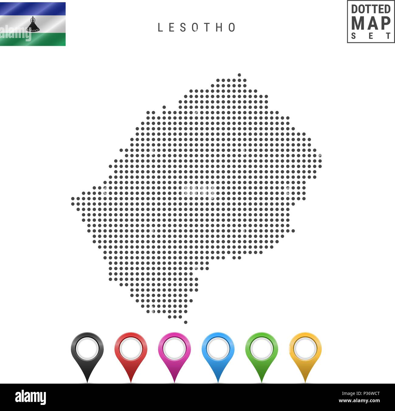 Vector Dotted Map of Lesotho. Simple Silhouette of Lesotho. National Flag of Lesotho. Set of Multicolored Map Markers - Stock Image