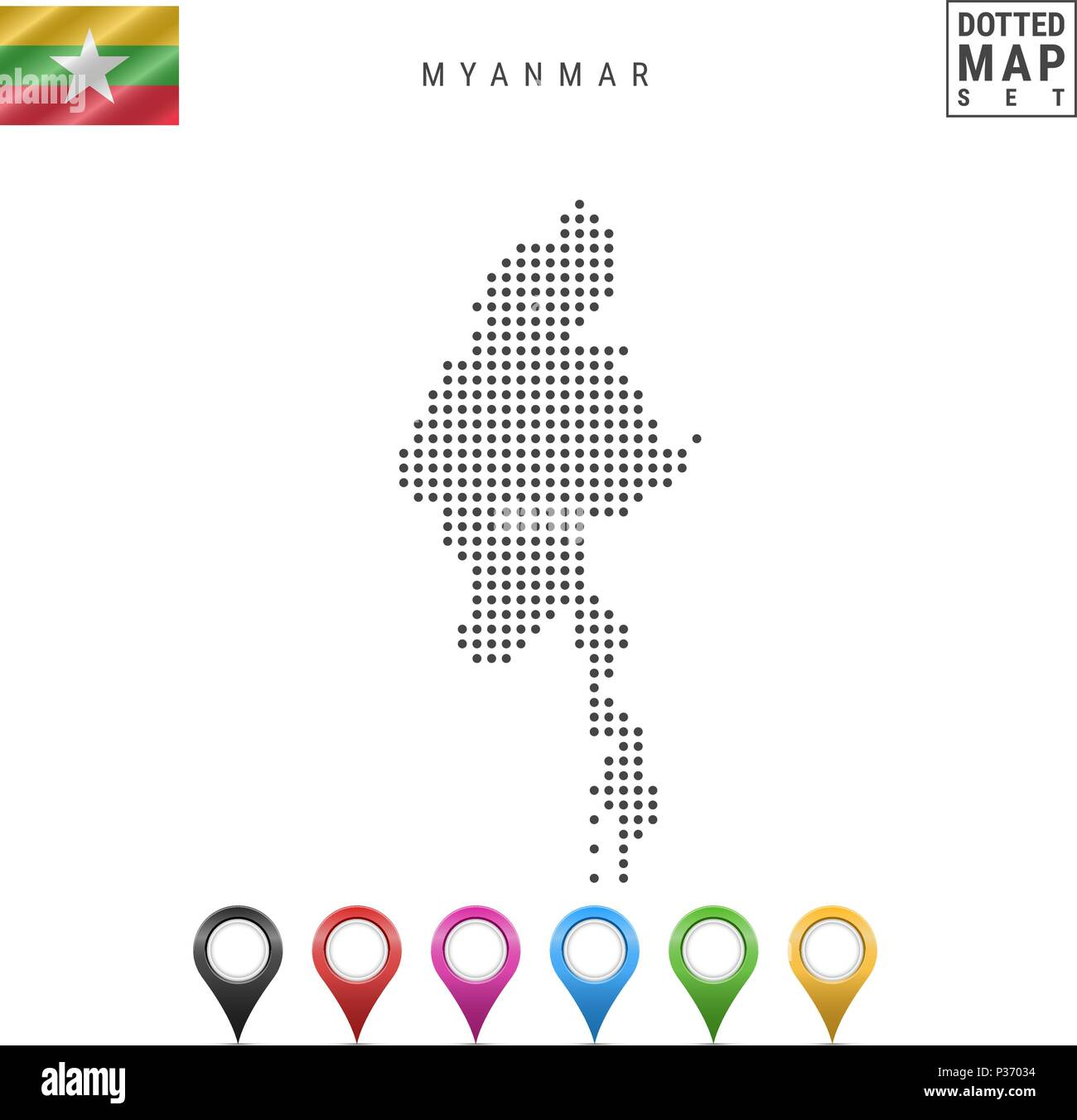 Vector Dotted Map of Myanmar. Simple Silhouette of Myanmar. National Flag of Myanmar. Set of Multicolored Map Markers - Stock Vector